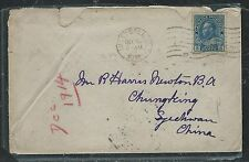 CANADA (PP1806B) 1914 KGV 5C BLUE ADMIRAL TO CHUNKING CHINA WITH RECEIVAL