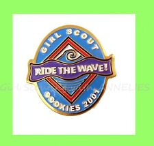 """2001 RARE Girl Scout COOKIE SALE PIN """"Ride the Wave"""" NEW Combine Ship"""