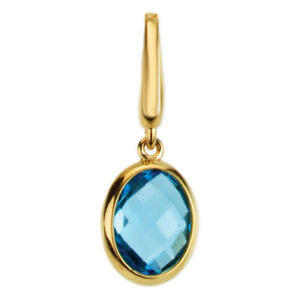 Blue Topaz Charm Dangle Pendant Genuine Swiss Blue 14K Yellow Gold Quality