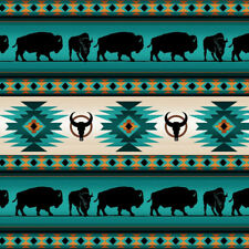 Patchwork Dekostoff Gardinenstoff Indianer Muster Büffel Türkis lfm Baumwolle