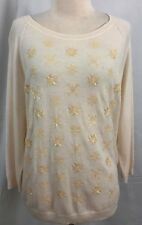 New Talbots Womens Pullover Sweater Cream Sequined Snowflakes Size XL Petite