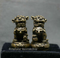 Ancient Chinese Bronze Copper Fengshui Foo Fu Dog Guardion Door Lion Pair Statue