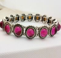 Vintage Style - Fuschia Hot Pink Glass Cabochon Stretch Bracelet