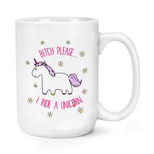 Lila Bitch Please I Ride A Unicorn 15oz Large Mug Cup - Unicorns Magical Stars