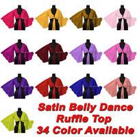 Belly Dance Satin Ruffle Top Blouse Haut Top Self Tie Choli Flair Ruffle Top S37