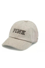 5ffe5fb23ac NWT VICTORIA S SECRET PINK GRAY WOOL CAP HAT O S ADJUSTABLE STRAP BASEBALL  CAP