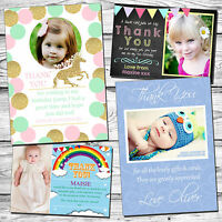 Childrens Birthday Thank You Cards Photo Party Thanks Printed Postcards Boy Girl