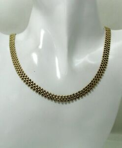 Heavy Nice Quality 9 carat Gold Brick Link Necklace