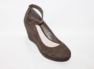 Kenji Designer Taupe Suede Leather Wedges Heels Size 10 NEW