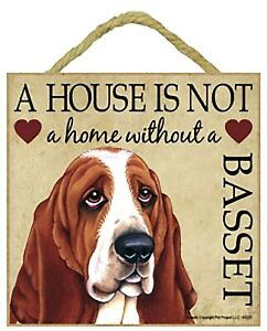 """Basset Hound Gift Plaque 5"""" x 5"""" 'House is not a Home' Hang it or Stand it"""