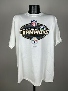Men's Reebok Pittsburgh Steelers Super Bowl Champions White Graphic Tee Large