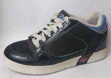 HEELYS Street Lo 7489 Skate Shoe Girls 3 Youth Black Blue Leather Wheely Sneaker