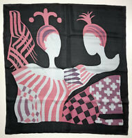 VINTAGE '80 Foulard Seta Grande Optical Grafico Etnico Bohemian Big Silk Scarf