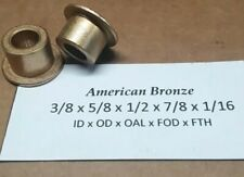 "Qty 2pc, Bronze Flanged Bushing, 3/8""x 5/8""x 1/2""  AMERICAN BRONZE Made In USA"