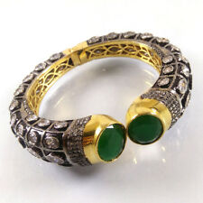 GREEN ONYX & CZ Gemstone High Gold Plated Handmade Designer Cuff Bangle Bracelet