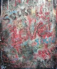 Modernist LARGE ABSTRACT PAINTING Expressionist GRAFFITI ART LOVE SUCKS FOLTZ $