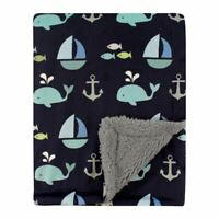 Luvable Friends Boy Mink/Sherpa Blanket, Ocean