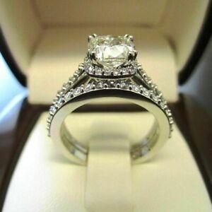 14K White Gold 3.00 Ct Off White Cushion Diamond Bridal Engagement Fancy Ring SN