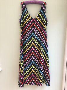 OLIVIA RUBIN SILK DRESS UK 16 CRESSIDA CHEVRON POLKA DOT MULTI ORP £370 BNWT