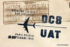 1960 DC8 UAT PARIS DOUALA CAMEROUN    Airmail Aviation premier vol AC14