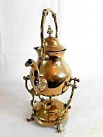Vintage Brass Spirit Kettle/ Teapot With Stand And Spirit Burner