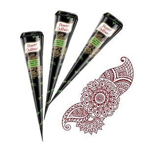 3 x Dark Brown PREM DULHAN BRIDAL Henna Cone Mehndi Chemical Free Henna Cone