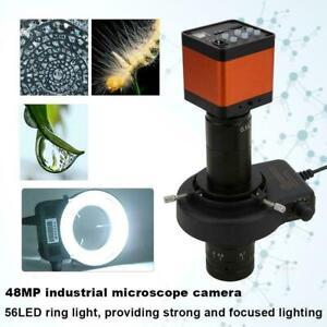 48MP HDMI USB Microscope Camera 60fps + 180X C-Mount Lens + 56LED Ring Lights
