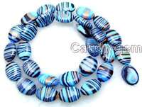 10*14mm Oval Blue Peacock Zebra Stripe Agate Beads for Jewelry Making Strand 15""