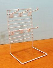 Counter Key Chain & Small Item Display Rack - 6 Metal Hooks  (White)