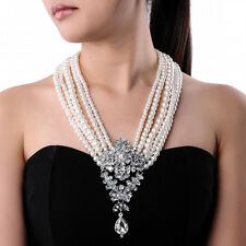Fashion White Pearl Chain Crystal Chunky Choker Statement Pendant Bib Necklace