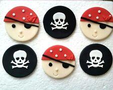 6 Handmade Edible Sugarpaste Pirate Skull Birthday Cupcake Toppers decorations