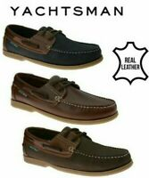 Mens Boat Deck Shoes 2 Tone Leather Nubuck Lace Up Non Marking Sole Size