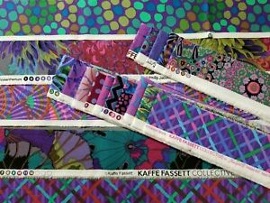 """Kaffe Fassett Collective 20 DIFFERENT Fabric Strips 2"""" to 2-3/4"""" x 30"""" KF#2B"""