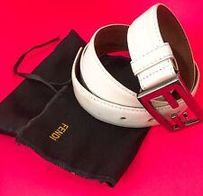 Fendi White Belt Black Mirrored Buckle Interlocking FF. RRP: £355