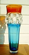 """Stunning Huge Art Glass Vase Blue and Brown with Latices Design Italy 18"""" Tall"""