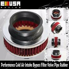 "Universal 3"" Performance Cold Air Intake Bypass Filter Valve Pipe Rubber RED"