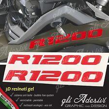 2 Adesivi Serbatoio Moto BMW R 1200 gs adventure LC 280 x 30 mm 3D resinati RED