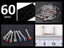 60 X Pequeño Acero Quirúrgico Anillo de diamantes de imitación de colores mezclados piercings para nariz Piercing del cuerpo