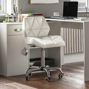 Computer Office Chair Home Cushioned Leather Low Back Swivel Adjustable White