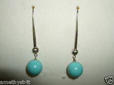 ORECCHINI EARRINGS PENDENTI TURCHESE TURQUOISE GANCETTO ARGENTO 925 SILVER STERL