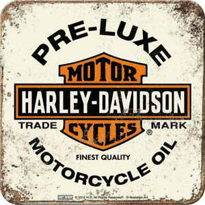 Harley Davidson White Preluxe Coaster Set of 4 - Metal & Cork Nostalgic Art