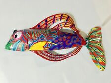 RESIN FISH ART BEACH OCEAN THEME WALL HANGING SCULPTURE BRIGHT HAPPY KIDS ROOMS