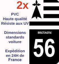 Sticker Autocollant immatriculation Département 56 Morbihan Bretagne NOIR X2 HQ