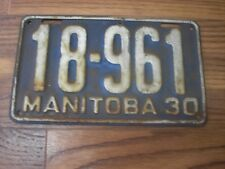 1930 Manitoba Canada 88 year old License Plate 18--961