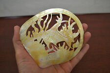 FISH CARVED GOLDEN MOTHER OF PEARL SHELL PLATE DECOR #ST-1969C