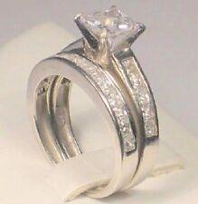 2.70 Ct Princess cut Solitaire Diamond Engagement Ring Bridal Set White Gold ov