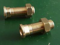 Pair of Lucas LD109 Sidelight Brass Stems & Nuts Vintage Morris 8 Series 1 & 2