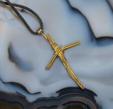 """Wire Gold Tone Cross Necklace on Black Cord 26"""" Adjust by Re Knotting"""