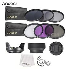 67mm UV CPL FLD ND 2 4 8 Lens Filter Kit Pouch + Hood + Cap for Canon Nikon V0I7