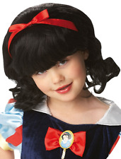 Girls Disney Princess Official Snow White Black Fancy Dress Costume Outfit Wig